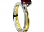 טבעת אבן חן רובי בשני צבעי זהב 14K זהב לבן וזהב צהוב