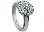 טבעת יהלומים מעוצבת כפירמידה עגולה משובצת ביהלומים קטנים