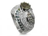 טבעת מעוצבת גדולה וינטג' זהב צהוב יהלום שחור מרכזי ויהלומים לבנים במשולב