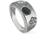 טבעת מעצבים עם יהלומים לבנים ויהלומים שחורים טבעת לגבר ולאישה