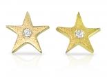 עגילי יהלומים - עגילים מזהב ויהלומים בעיצוב כוכב