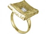 טבעת מעצבים טבעת זהב מט עם יהלום מרובע פרינסס במרכז