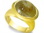 טבעת מעצבים סגנון עתיק אבן חצי יקרה גדולה