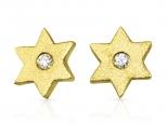 עגילי יהלומים-עגילי מגן דוד זהב ויהלומים צמוד לאוזן