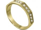 טבעת יהלומים בעיצוב  מיוחד משושה זהב צהוב טבעת לגבר ולאישה