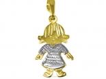 תליון זהב מעוצב בדמות ילדה מתאים כמתנה ללידה וכמתנת אהבה בן ובת