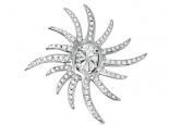 תליון מעצבים דגם קרני שמש עם יהלומים יהלום מרכזי 2 קארט