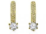 עגילי יהלומים תלויים  זהב צהוב אפשרות סט לטבעת אירוסין וטבעת יהלומים תואמת