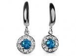 עגילים יהלומים תלויים אבן חן מרכזית בלו טופז אבני חן לבחירה