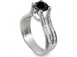 טבעת אירוסין בעיצוב מיוחד ליהלום שחור גדול 1 קארט