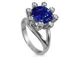 טבעת לאבן חן ספיר 5 קארט בעיצוב מיוחד