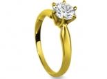 טבעת אירוסין קלסית שיבוץ 6 שיניים יהלום 1 קרט