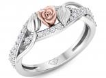 טבעת זהב ויהלומים קלאסית בעיצוב פרח