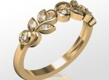 טבעת יהלומים בעיצוב עלים
