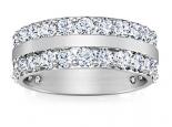טבעת יהלומים 2 שורות מחוברות