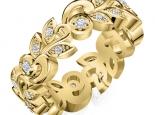 טבעת יהלומים מעוצבת עלים