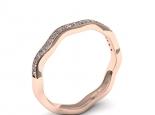 טבעת יהלומים לא סמטרית טבעת גלים
