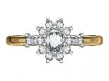 טבעת זהב ויהלומים בצורת פרח
