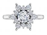 טבעת יהלומים בעיצוב פרח- דגם דיאנה- 1 קארט מרכזית