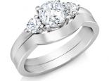 טבעת אירוסין משולבת עם טבעת נישואין טבעת שלושה יהלומים