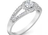 טבעת אירוסין יהלום טבעת 2 שורות יהלומים