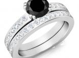 טבעת יהלום שחור חצי קרט (אפשר להוסיף טבעת יהלומים תואמת בתוספת תשלום)