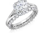 סט מושלם של טבעת יהלומים טבעת אירוסין ונישואין משולבות יחד