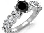 טבעת יהלומים בעיצוב מיוחד עם יהלום שחור