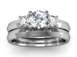 סט טבעות יהלומים טבעת עם 3 יהלומים בתוספת טבעת נישואין חלקה
