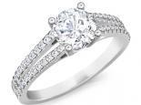 טבעת אירוסין 2 שורות יהלומים יהלום מרכזי1 קראט