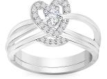 טבעת לב יהלומים בעיצוב מיוחד