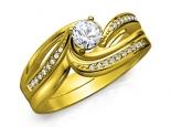 טבעות אירוסין מיוחדות טוויסט עם יהלום סט טבעות ביחד או לחוד