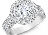 טבעת יהלומים 2 שורות יוקרתית יהלום מרכזי 1 קרט