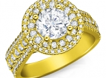 טבעת יהלומים 2 שורות יוקרתית יהלום מרכזי 1/2 קרט