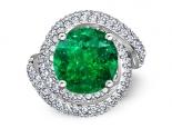 טבעת יהלומים מעוצבת אבן חן יוקרתית 3 קארט אמרלד ברקת