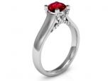 טבעת יהלומים בעיצוב מיוחד עם אבן חן מרכזית רובי