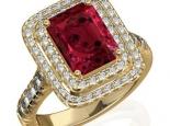 טבעת זהב אופנתית עם אבן חן רובי אמרלד או ספיר גדולה