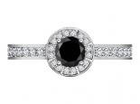 טבעת אירוסין יהלום שחור שסביבו יהלומים