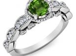 טבעת יהלומים בעיצוב יוקרתי אבן חן חצי קרט אמרלד ברקת רובי ספיר