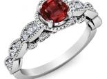 טבעת יהלומים בעיצוב יוקרתי אבן חן חצי קרט  רובי