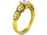 טבעת יהלומים מעוצבת עם קשתות טבעת תחרה