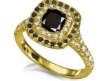 טבעת  זהב צהוב יהלום שחור מעל קארט שילוב של יהלומים שחורים ויהלומים לבנים