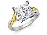 טבעת זהב עם יהלום מרובע ענק פרינסס 3 קארט