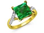 טבעת זהב עם אבן חן אמרלד ברקת מרובעת גדולה ומרשימה 3 קארט