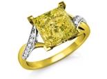 טבעת זהב עם אבן חן צהובה מרובעת גדולה ומרשימה 3 קארט