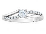 טבעת אירוסין טויסט קשתות טבעת זהב ויהלומים יהלום מרכזי 1 קראט