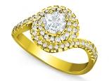 טבעת יהלומים מסובבת, טבעת מרשימה ויוקרתית חצי קארט יהלום מרכזי