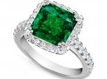 טבעת זהב בשיבוץ אבן חן  אמרלד ברקת מרובעת 3.00 קארט שסביב יהלומים
