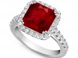 טבעת אבן חן 3.00 קארט אמרלד רובי או ספיר מסביב יהלומים