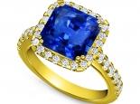 טבעת זהב בשיבוץ אבן חן ספיר מרובעת 3.00 קארט שסביב יהלומים